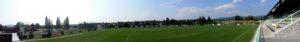 Blick auf den Fußballplatz in Sporice