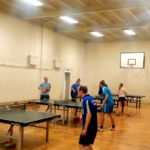 Unsere Sporthalle in der Saalfelder Straße mit Tischtennisplatten